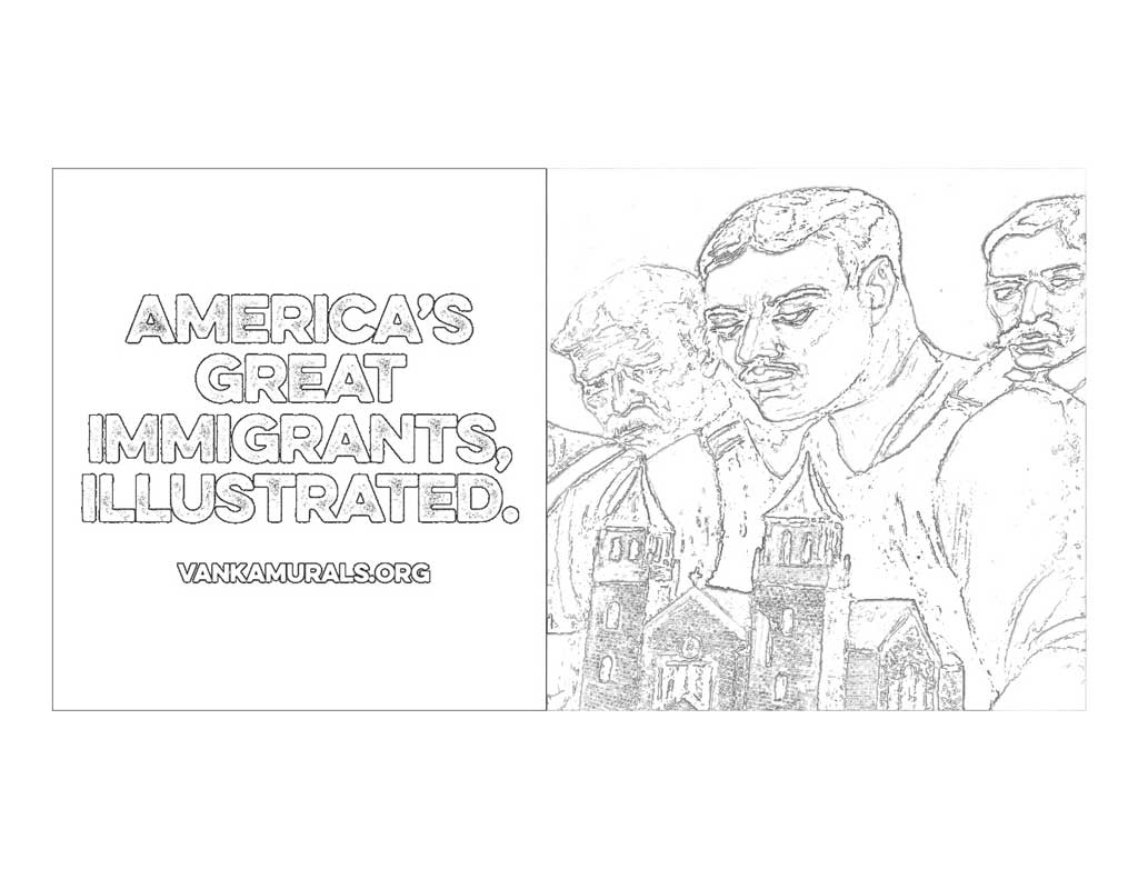 America's great immigrants, illustrated coloring page