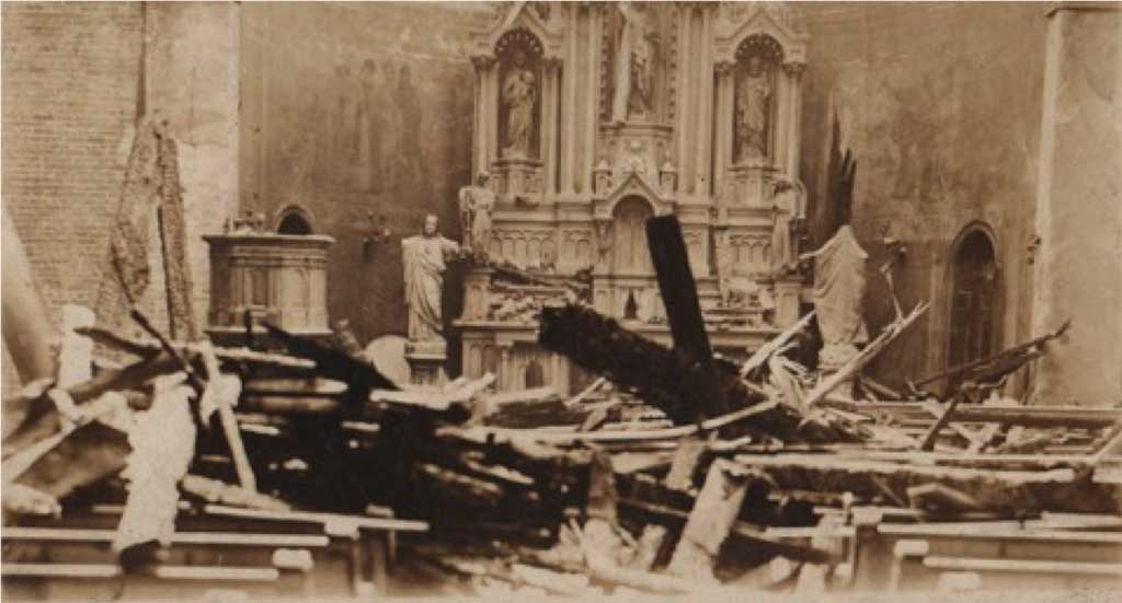 Fire damage of at St. Nicholas Church