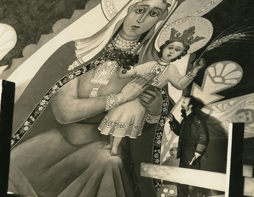 Artist Maxo Vanka with Mary, Queen of Croatia and Arch